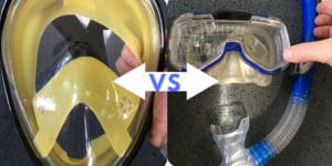 traditional snorkel mask vs full face snorkel